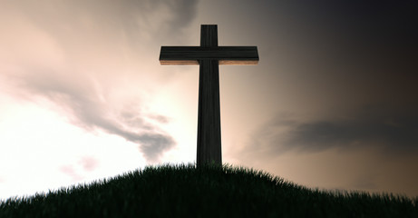 Crucifix On A Hill At Dawn