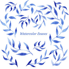 vector blue gzhel watercolor leaf pattern template