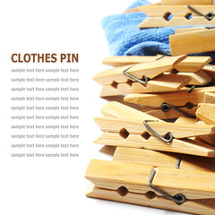 Wooden clothes pin isolated on white background