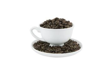 Closeup of coffee beans on cap