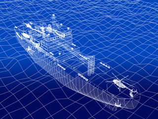warship 3d wire frame on water