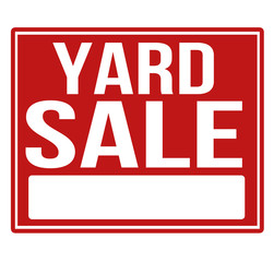 Yard sale red sign with copy space