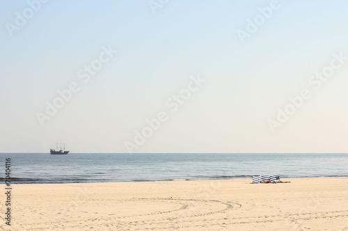 Baltic Sea white sand beach in september - 70404116