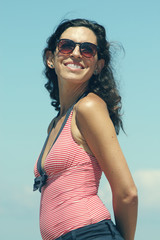 Portrait of beautiful 35 years old woman at the beach