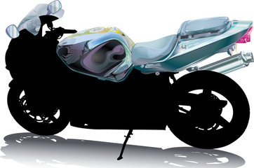 Motorcycle Silhouette with Handlebar Fuel Tank and Windshield