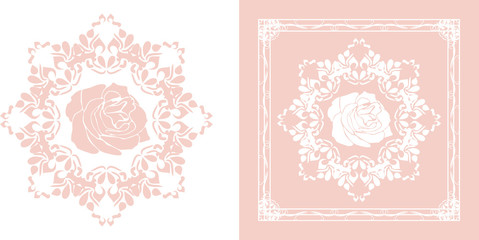 Ornamental element for decor isolated on the white and pink