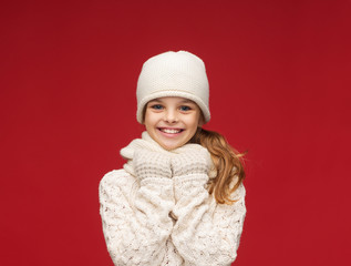 girl in hat, muffler and gloves