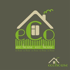 eco house eco-friendly natural materials dark background emblem