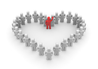 Group of people stand in the form of heart