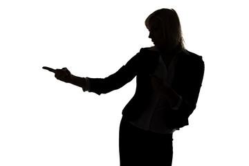 Woman showing something