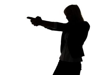 Silhouette of secret agent woman
