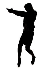 Silhouette of woman with handgun