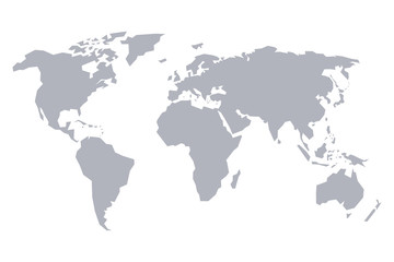 Map of the world. Gray solid stylized scheme.