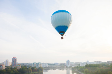 Minsk, Belarus. 13-September-2014: view of hot air baloon flying