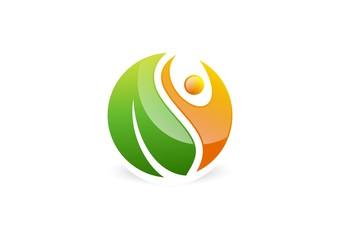 people,natural,logo,health,wellness,leaf,botany,ecology,fitness