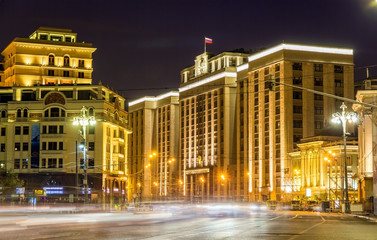 Night view of State Duma in Moscow, Russia