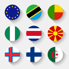 Flags of the world, round buttons