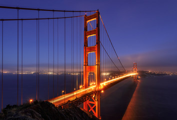 Golden Gate bridge, illumination, San Francisco, California, USA