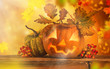 Scary jack o lantern halloween background