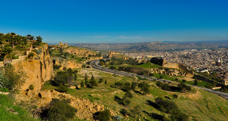 Landscape of Fes Medina (Old Town) with City Walls