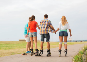 group of teenagers with roller-skates