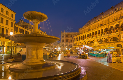 Padua - Piazza delle Erbe in morning dusk with the market