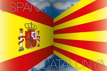 spain vs catalonia flags