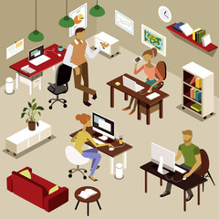 Isometric Office People in grayish colors