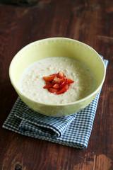 Milk oat meal porridge with coconut milk