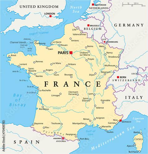 Fototapeta France Political Map