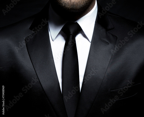 Man gentleman in black suit and tie - 70408969