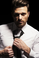 Handsome man face with white shirt and tie
