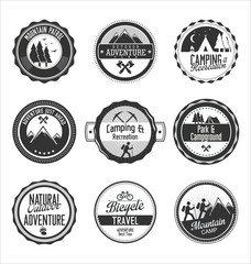 Set of outdoor adventure gray labels