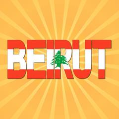 Beirut flag text with sunburst illustration