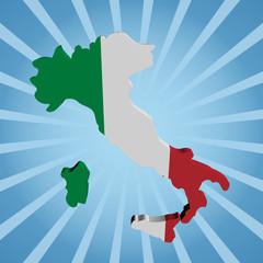 Italy map flag on blue sunburst illustration