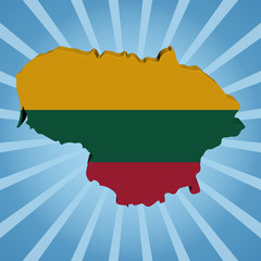 Lithuania map flag on blue sunburst illustration