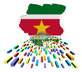 Suriname map flag with containers illustration
