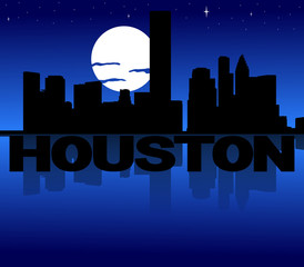Houston skyline reflected with text and moon illustration