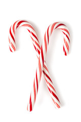 Christmas candy canes isolated on white.