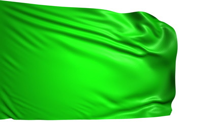 blank green flag with fabric structure; looping