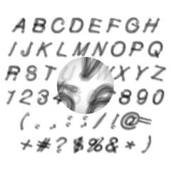 Calligraphic black grunge alphabet vector illustration
