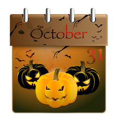 Halloween pumpkin and calendar on 31th of October
