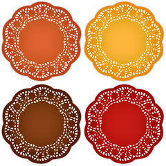 Thanksgiving Place Mats, harvest doilies, ornate lace patterns