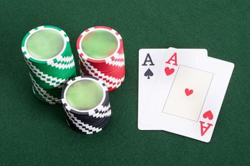 Winning blackjack game in casino
