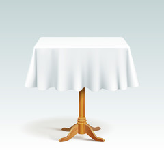 Vector Empty Square Wood Table with Tablecloth