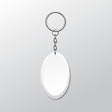 Blank Oval Keychain with Ring and Chain for Key