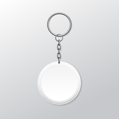 Blank Round Keychain with Ring and Chain for Key