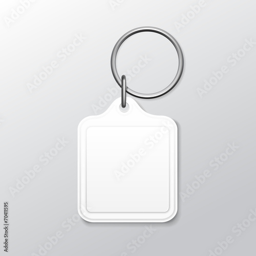 Blank Square Keychain with Ring and Chain for Key - 70411595