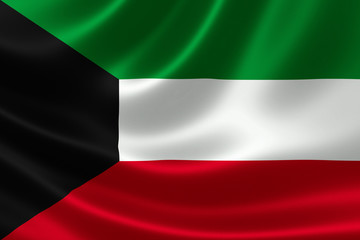 Close-up of the State of Kuwait's Flag