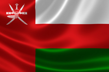 Close-up of the Sultanate of Oman's Flag